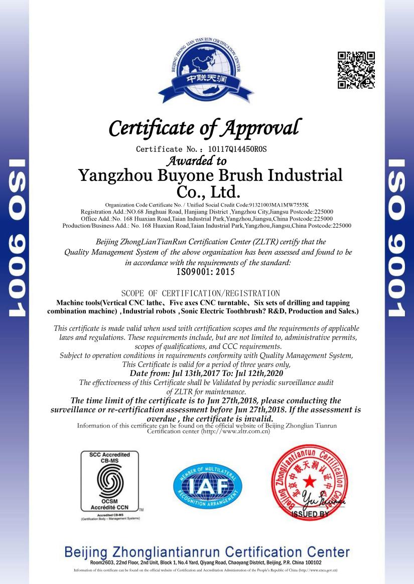 白王刷业IOS认证证书